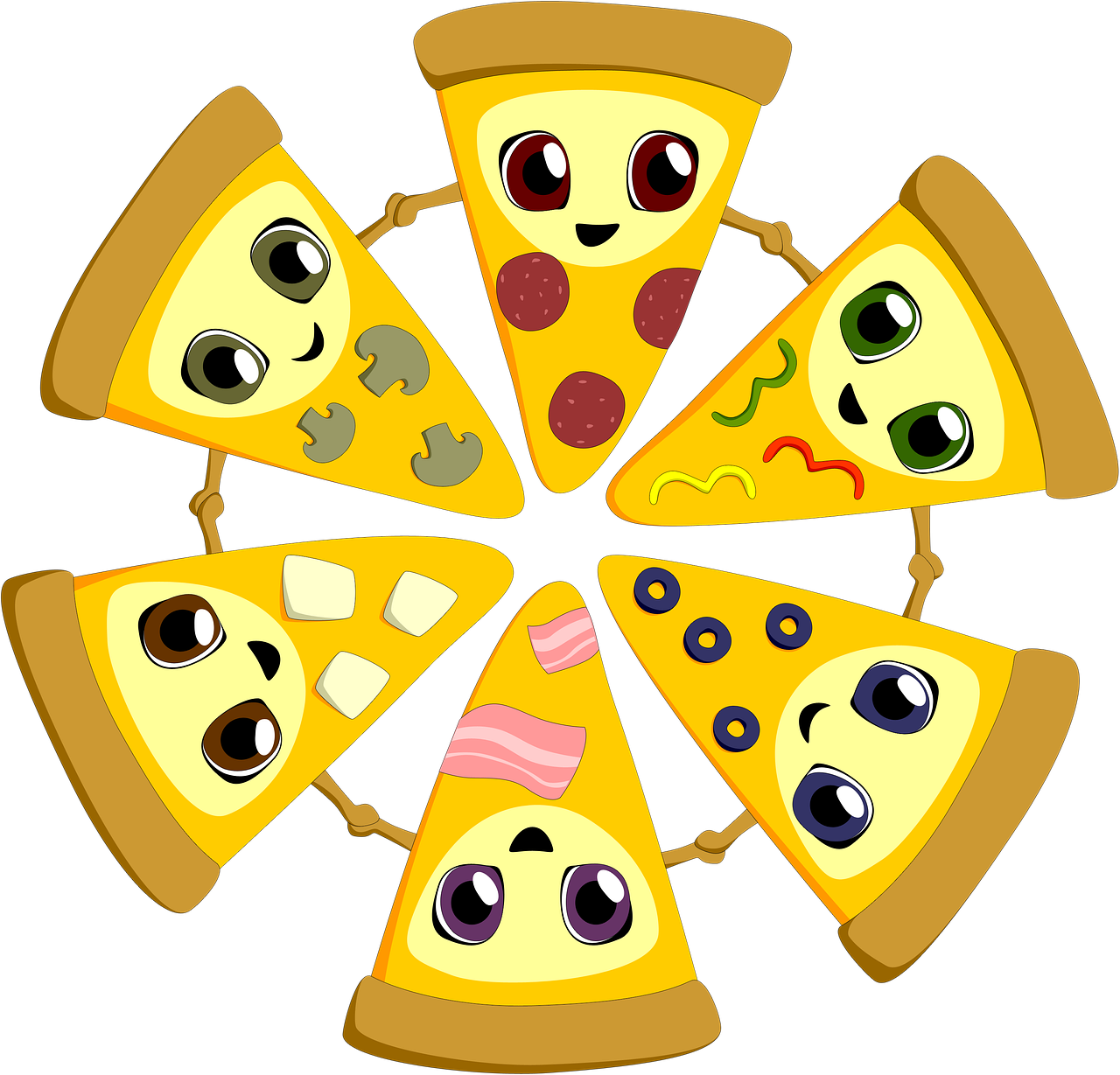 pizza, different, friends